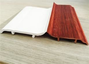 Çin Decorative White PVC Skirting Board 10CM Height Hot Stamping Finish Tedarikçi