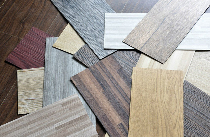 "Waterproof Wood Grain PVC Floor Tiles No - Wax 9""X48"" Installed With Glue Tedarikçi"